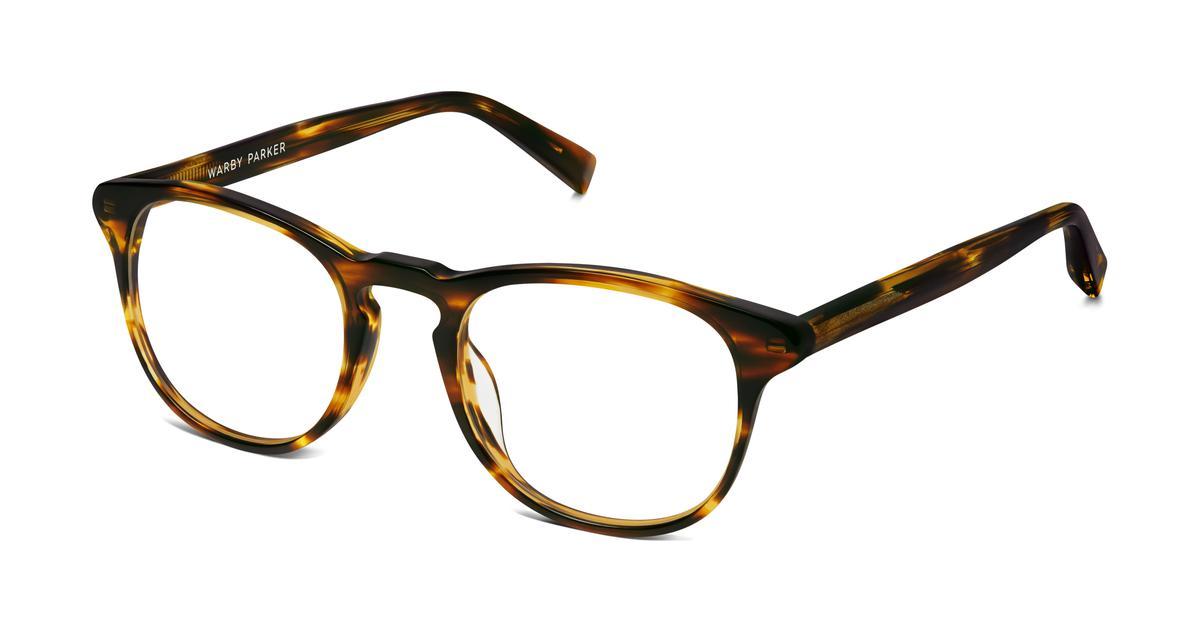 baker eyeglasses in striped sassafras for warby