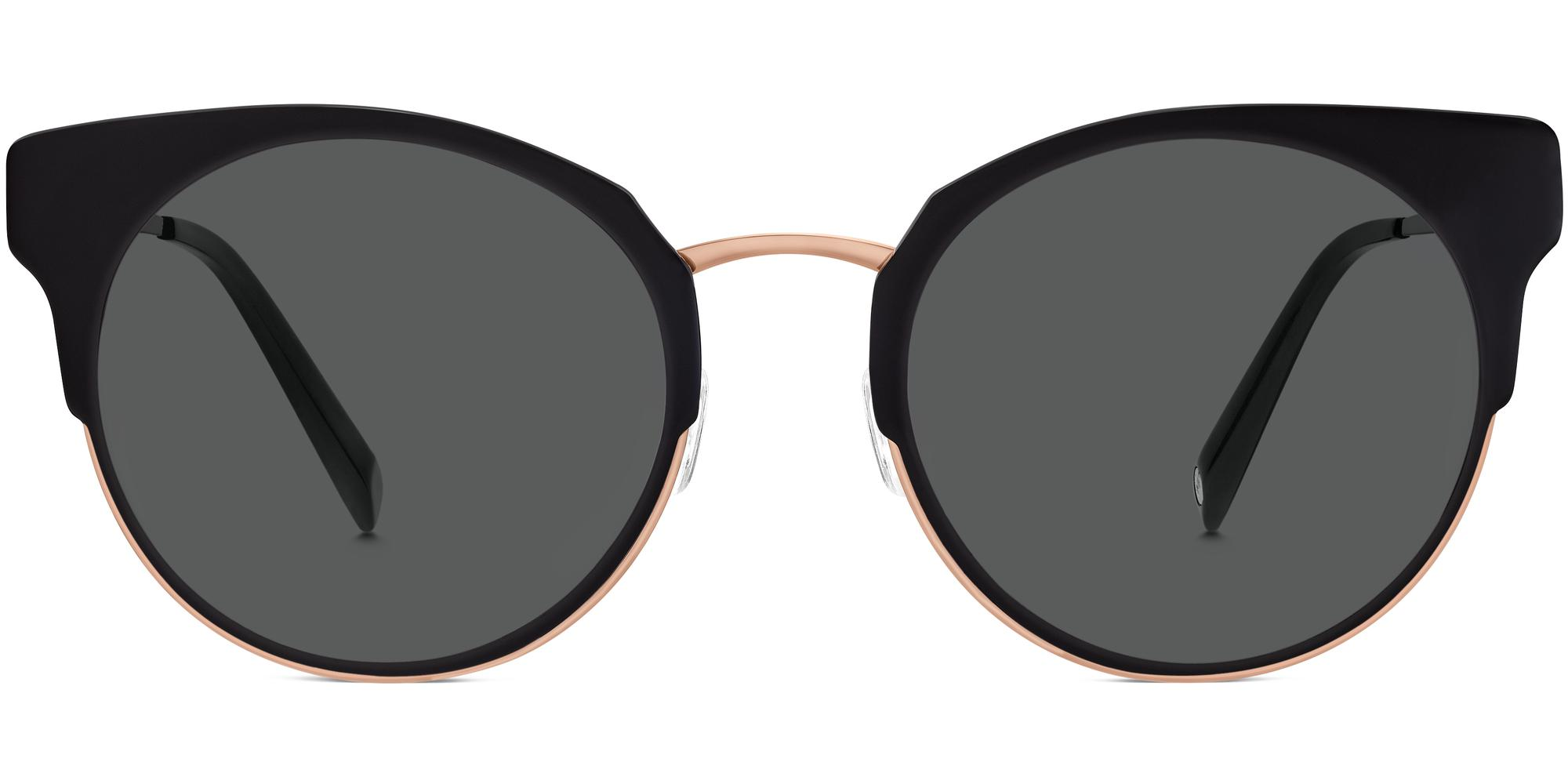 Cleo f sunglasses in Jet Black with Rose Gold Non-Rx