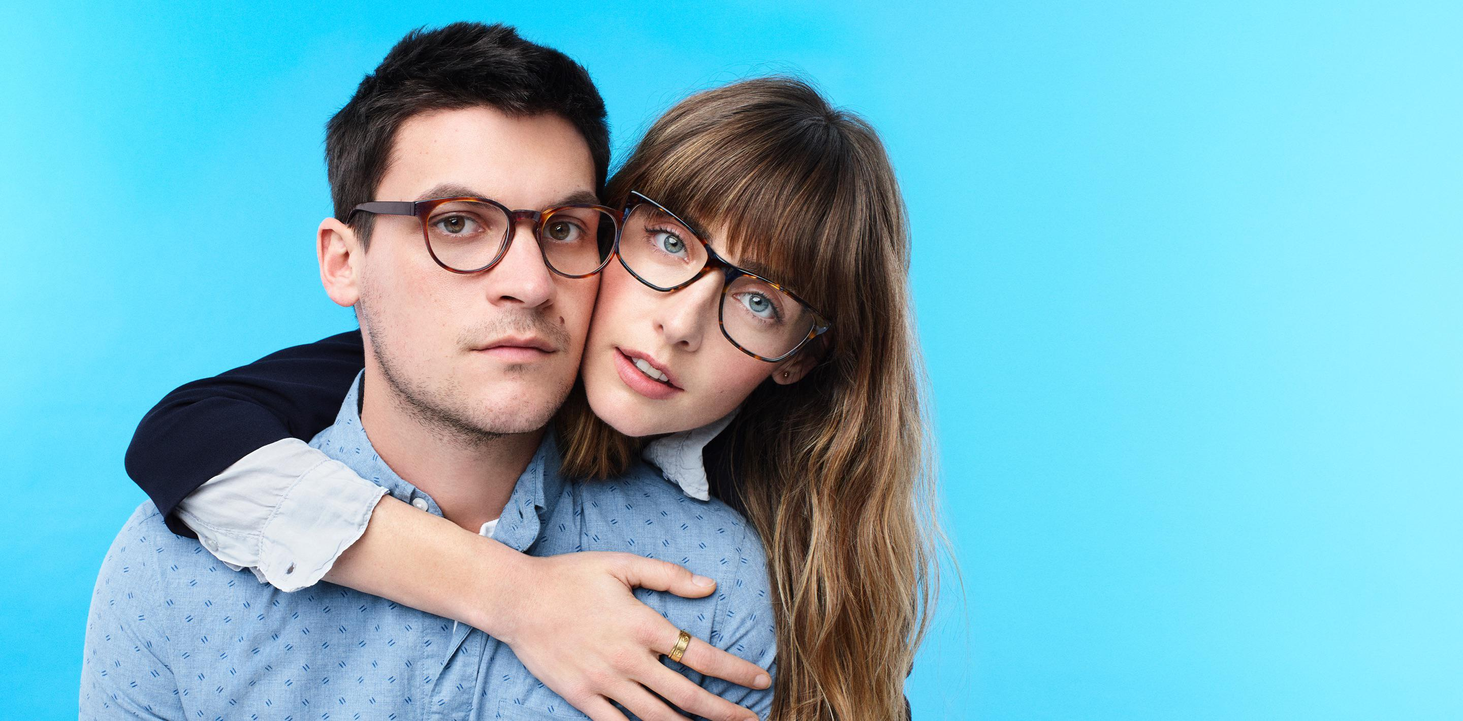two people wearing glasses
